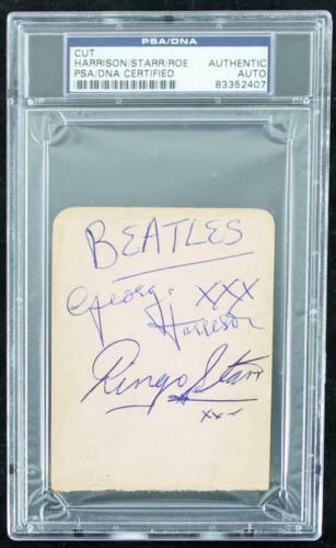 George Harrison, Ringo Starr & Tommy Roe Signed 3X4 Cut PSA Slabbed