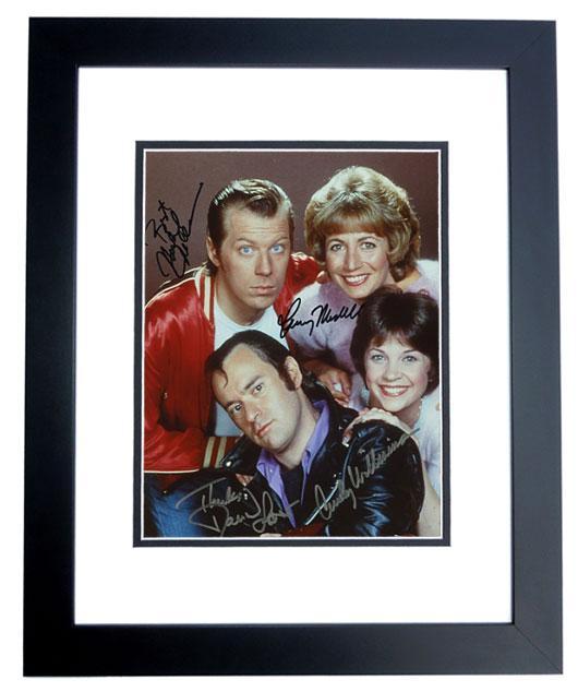 "Michael Williams Autographed Photo - Laverne Shirley"" Cast 8x10 BLACK CUSTOM FRAMED Penny Marshall Cindy McKean David Lander"