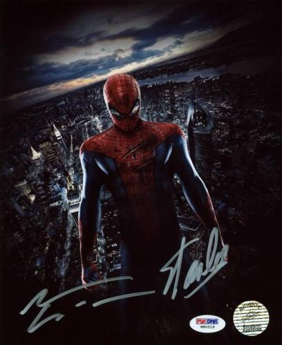 Stan Lee & Andrew Garfield Spider-Man Signed 8X10 Photo PSA #W80518