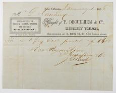 1856 Pre-Civil War Ephemera P. Deguilhem & Co. Clothing Invoice