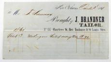 1861 Civil War Era Ephemera Receipt for a Suit J. Brandner Tailor New Orleans