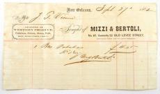 1862 Civil War Era New Orleans Mizzi & Bertoli Produce Receipt Sept 27th