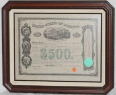1866 Antonio Lopez de Santa Anna Signed & Framed $500 Mortgage Bond, JSA