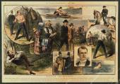 1883 John L Sullivan vs. Charley Mitchell, National Police Gazette Color Poster