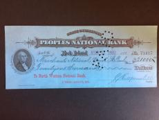 1892 Peoples National Bank Check, Chicago, IL (Over 125 Years Old!)