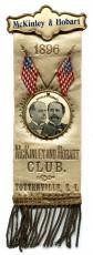 1896 William McKinley and Garret Hobart Campaign Ribbon