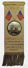 1896 William McKinley and Garret Hobart Republican League Campaign Ribbon