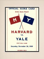 1909 Harvard Crimson vs Yale Bulldogs 10 1/2 x 14 Matted Historic Football Poster - Mounted Memories