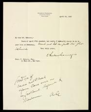 1910 Andrew Carnegie 2X Signed & Inscribed Typed Letter on His Letterhead  PSA