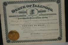 1910 Charles Deneen, Illinois Governor Signed State of Illinois Document, 11x14
