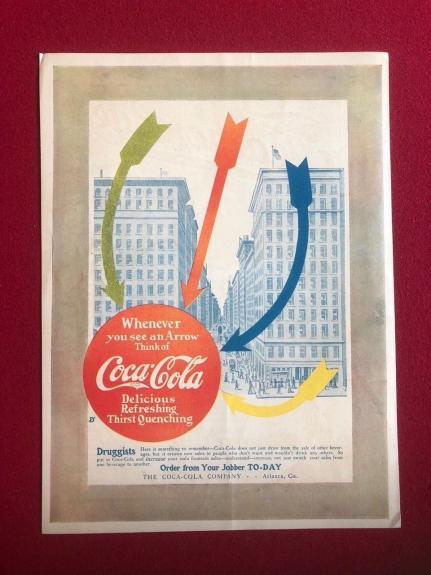 1910, Coca-Cola, Original Display Ad - Color Arrows (Scarce)