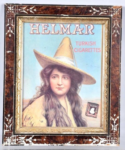 1910's Helmar Turkish Cigarettes Poster in Period Frame. Measures 15.25  x 18.25
