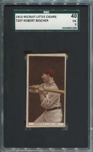 1912 T207 Robert Bescher Baseball Card. SGC 40 VG 3. Recruit Little Cigars