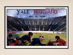 1914 Yale Bulldogs vs Harvard Crimson 10 1/2 x 14 Matted Historic Football Poster