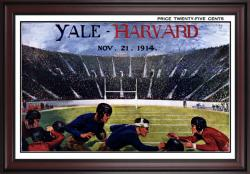 1914 Yale Bulldogs vs Harvard Crimson 36x48 Framed Canvas Historic Football Poster - Mounted Memories