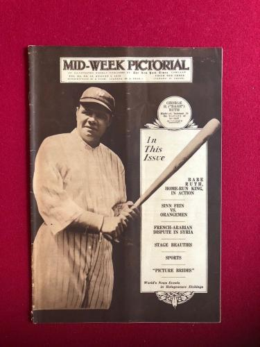 "1920, Babe Ruth, ""Mid-Week Pictorial"" Magazine (Rare) (New York Yankees)"