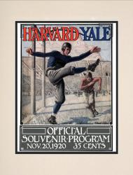 1920 Yale Bulldogs vs Harvard Crimson 10 1/2 x 14 Matted Historic Football Poster - Mounted Memories