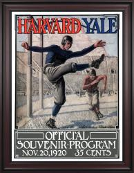 1920 Yale Bulldogs vs Harvard Crimson 36x48 Framed Canvas Historic Football Poster - Mounted Memories