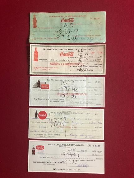 1920's-1960's, Coca- Cola bottling Company Checks (5 Total) Scarce