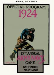 1924 Army Black Knights vs Navy Midshipmen 22x30 Canvas Historic Football Poster