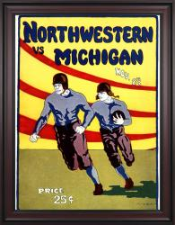 1924 Michigan Wolverines vs Northwestern Wildcats 36x48 Framed Canvas Historic Football Poster