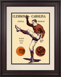 1924 South Carolina Gamecocks vs Clemson Tigers 10 1/2 x 14 Framed Historic Football Poster - Mounted Memories