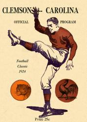 1924 South Carolina Gamecocks vs Clemson Tigers 22x30 Canvas Historic Football Poster