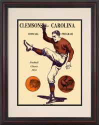1924 South Carolina Gamecocks vs Clemson Tigers 8.5'' x 11'' Framed Historic Football Poster