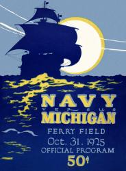 1925 Michigan Wolverines vs Navy Midshipmen 22x30 Canvas Historic Football Poster