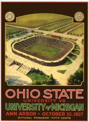 1927 Michigan Wolverines vs Ohio State Buckeyes 22x30 Canvas Historic Football Poster