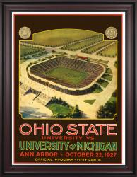 1927 Michigan Wolverines vs Ohio State Buckeyes 36x48 Framed Canvas Historic Football Poster