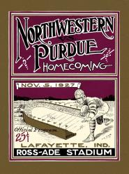 1927 Purdue Boilermakers vs Northwestern Wildcats 22x30 Canvas Historic Football Poster