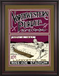 1927 Purdue Boilermakers vs Northwestern Wildcats 36x48 Framed Canvas Historic Football Poster
