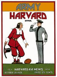 1928 Harvard Crimson vs Army Black Knights 22x30 Canvas Historic Football Poster