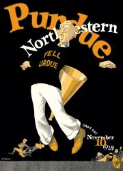 1928 Northwestern Wildcats vs Purdue Boilermakers 22x30 Canvas Historic Football Poster