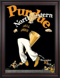 1928 Northwestern Wildcats vs Purdue Boilermakers 36x48 Framed Canvas Historic Football Poster