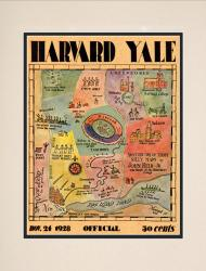1928 Yale Bulldogs vs Harvard Crimson 10 1/2 x 14 Matted Historic Football Poster