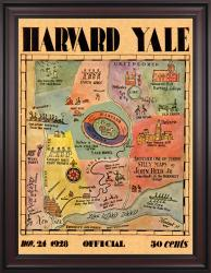 1928 Yale Bulldogs vs Harvard Crimson 36x48 Framed Canvas Historic Football Poster - Mounted Memories