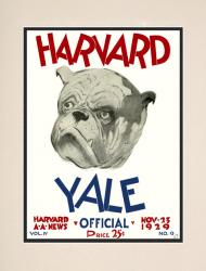 1929 Harvard Crimson vs Yale Bulldogs 10 1/2 x 14 Matted Historic Football Poster - Mounted Memories