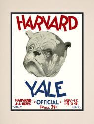 1929 Harvard Crimson vs Yale Bulldogs 10 1/2 x 14 Matted Historic Football Poster
