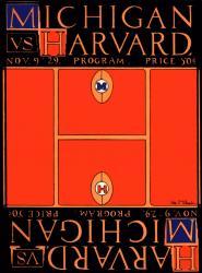 1929 Michigan Wolverines vs Harvard Crimson 22x30 Canvas Historic Football Poster