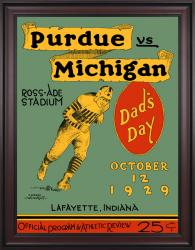 1929 Purdue Boilermakers vs Michigan Wolverines 36x48 Framed Canvas Historic Football Poster