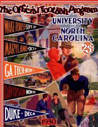 1930 North Carolina Tar Heels Season Schedule 22x30 Canvas Historic Football Poster