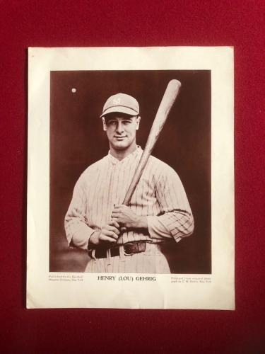 "1930's, Lou Gehrig, 'Baseball Magazine"" Supplement (Conlon Collection) Scarce"