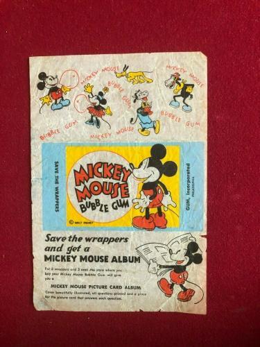 "1935, Walt Disney, ""Mickey Mouse Bubble Gum Card Wrapper"" (Scarce / Vintage)"