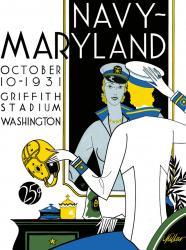 1931 Maryland Terrapins vs Navy Midshipmen 22x30 Canvas Historic Football Poster