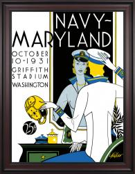 1931 Maryland Terrapins vs Navy Midshipmen 36x48 Framed Canvas Historic Football Poster