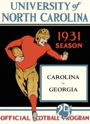 1931 North Carolina Tar Heels vs Georgia Bulldogs 22x30 Canvas Historic Football Poster