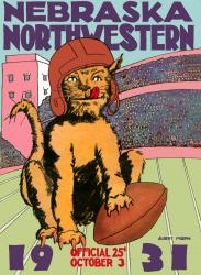 1931 Northwestern Wildcats vs Nebraska Cornhuskers 22x30 Canvas Historic Football Poster
