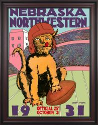 1931 Northwestern Wildcats vs Nebraska Cornhuskers 36x48 Framed Canvas Historic Football Poster